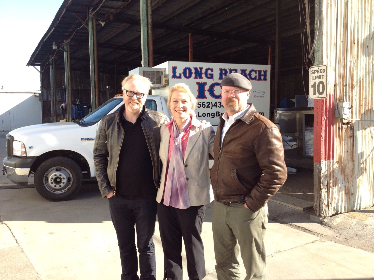 Julia Greer with Adam Savage and Jamie Hyneman from Mythbusters (2012)